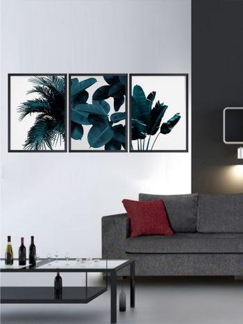 مجموعه تابلوهای برگ های آبی