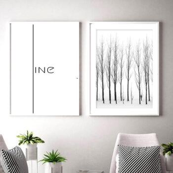 مجموعه تابلو درخت و خط