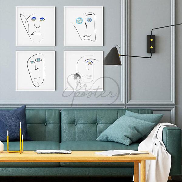 قاب عکس صورت های خطی -مجموعه صورت های خطی