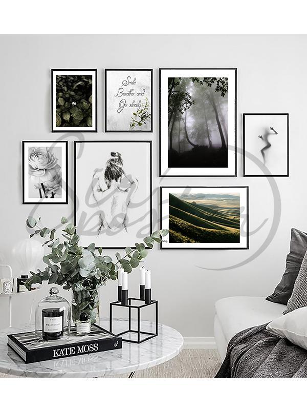 مجموعه تابلو سبز و خاکستری