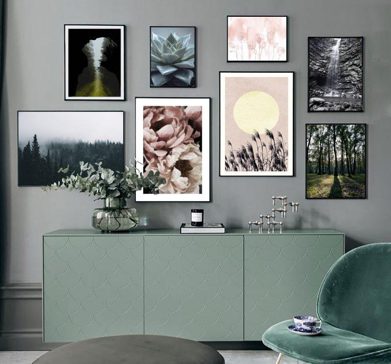 مجموعه تابلو سبز و صورتی